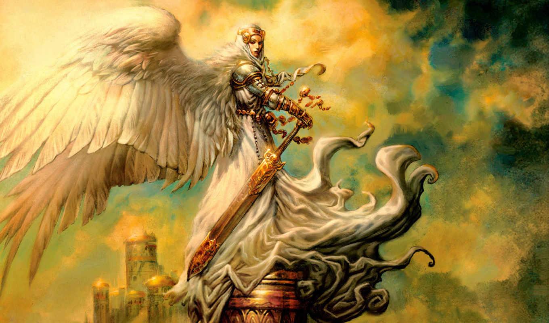 archangel, empyrial, staples, greg, angel, меч, рисунок, mtg, magic, fantasy, pro, art, ultra, gathering, this, wings, только,