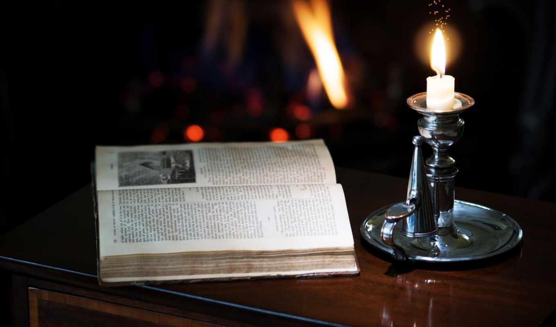 свеча, тумбочка, книга, подсвечник,