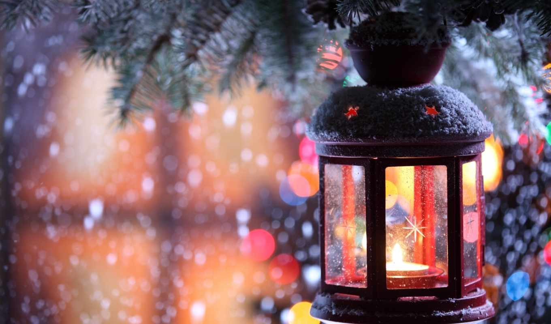 winter, снежинки, свеча, branch, подсвечник, снег, фонарик,