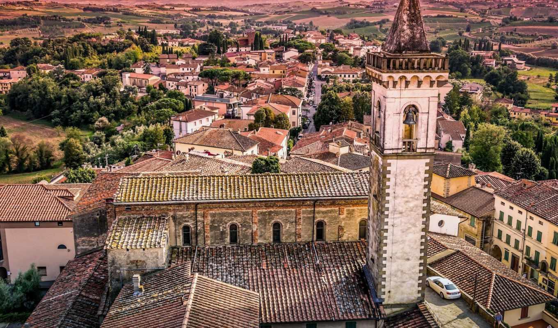 tuscany, italy, church, панорама, крыши, санта, croce, нравится, здания,