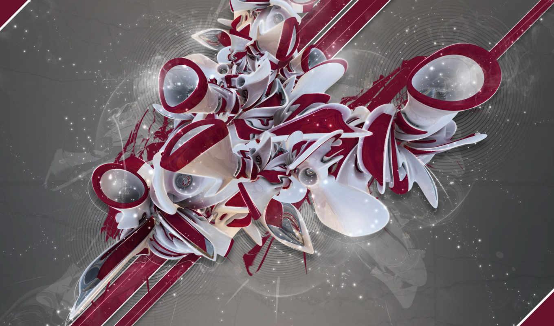 graffiti, red, white, shapes, desktop,