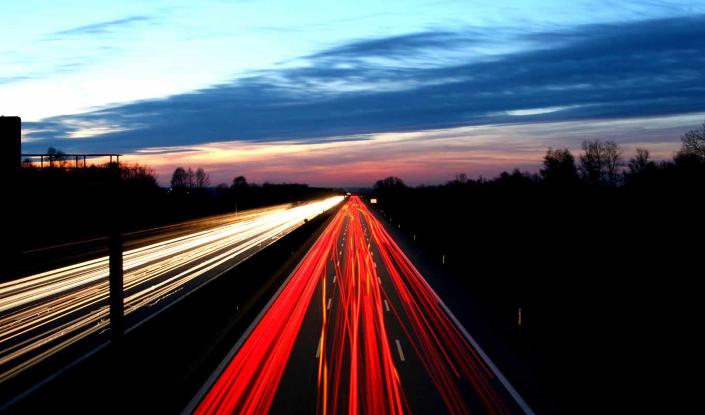 дорога, вечер, огни, картинка, небо,