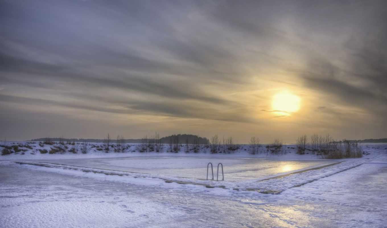 снег, швеция, бассейн, зима, солнце, озеро, лед,