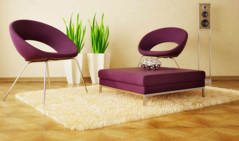 стиле, современный, стулья, ковёр, столик,