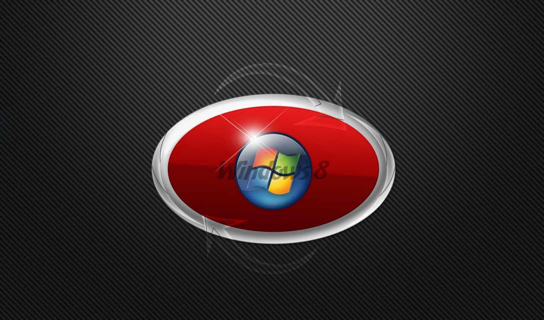 windows, eight, лого, красный, серый, красный