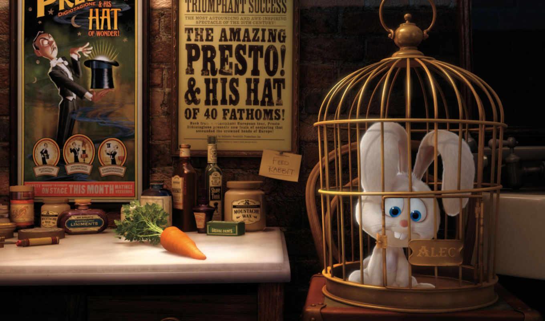 заяц, морковь, плакаты, клеточка, presto, pixar,