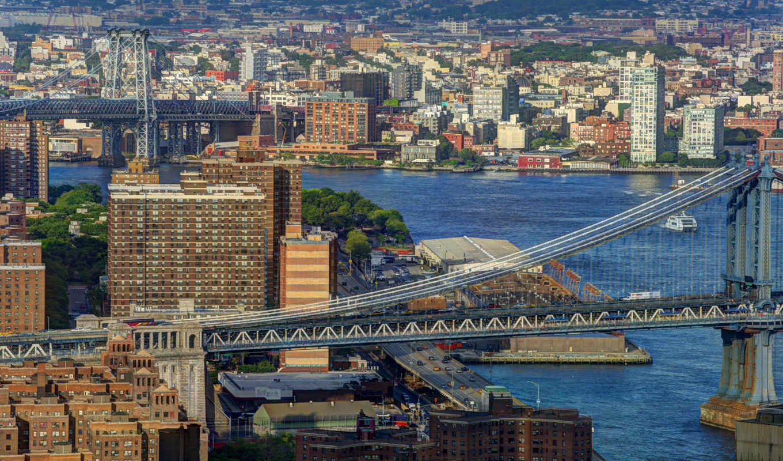 нью, мост, река, ist, канал, york, usa, город, manhattan, города,