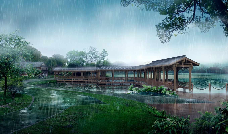 горах, китая, дождь, china, китае, водопад, пейзажи -, китайских, китайская, мастеров,