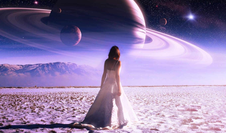 девушка, saturn, небо, light, звезды, dream,