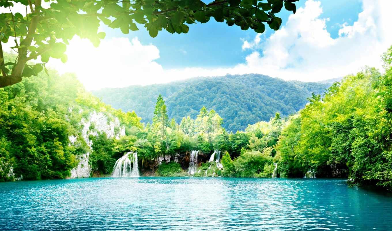 водопад, вода, джунгли, небо, горы, картинка, водопады, пейзажи, lake, красивые, forest, www, солнце,