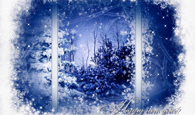 окно, winter, pattern, снежинки, снег, дерево, деревья,