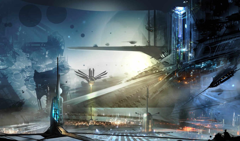 красивые, gorod, будущего, art, корабли, sci,