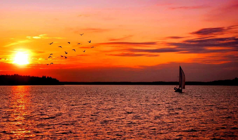 закат, парусник, лодка, desktop,