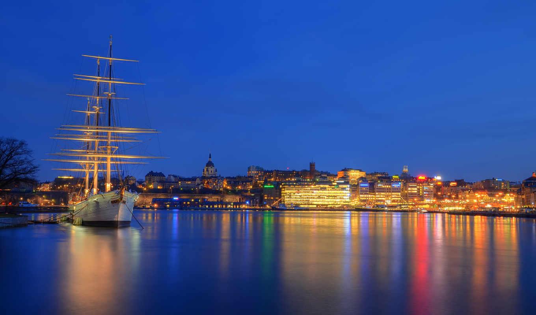 stockholm, город, ночь, skeppsholmen, огни, желанию,