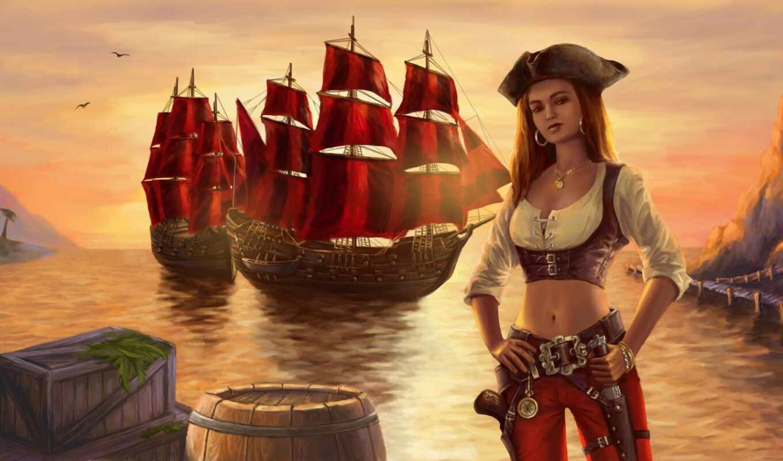 пиратка, olgareseda, девушка, midriff, стрелок, корабль, art, drawing