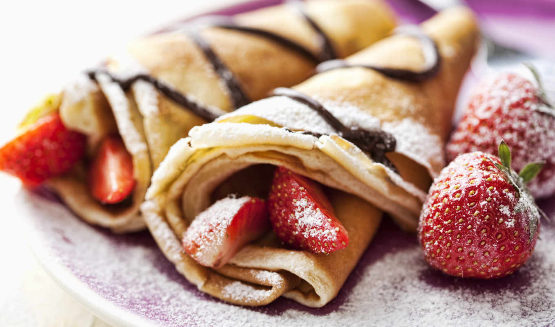 еда, crepes, strawberries, клубника, десерт, блинчики, wallpaper, view, пудра, блины, and, сахарная,