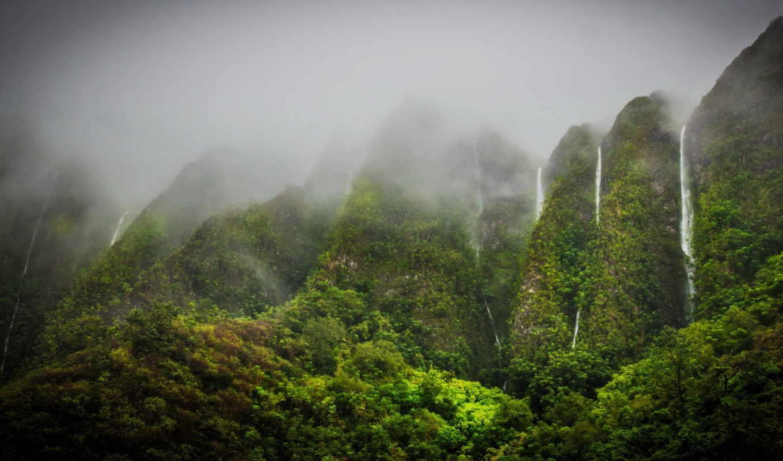 природа, водопады, горы, oahu, tropical, highlands, jungle, hawaii,
