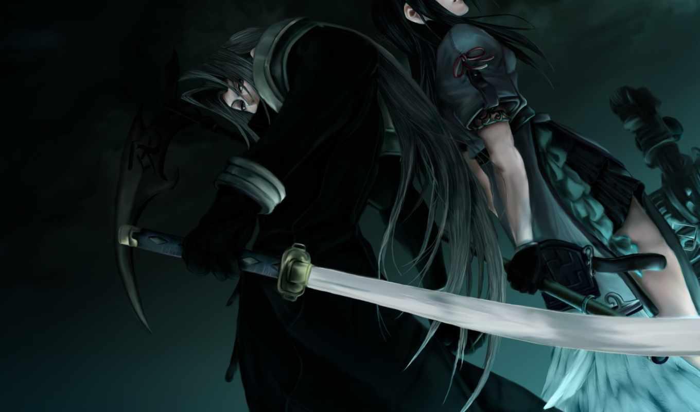 fantasy, final, девушка, sephiroth, меч, картинка, парень,