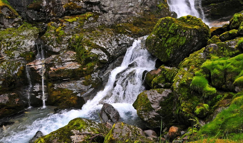 скалы, водопад, мох, природа, озеро, деревя, страница, горы, картинкой, лес,