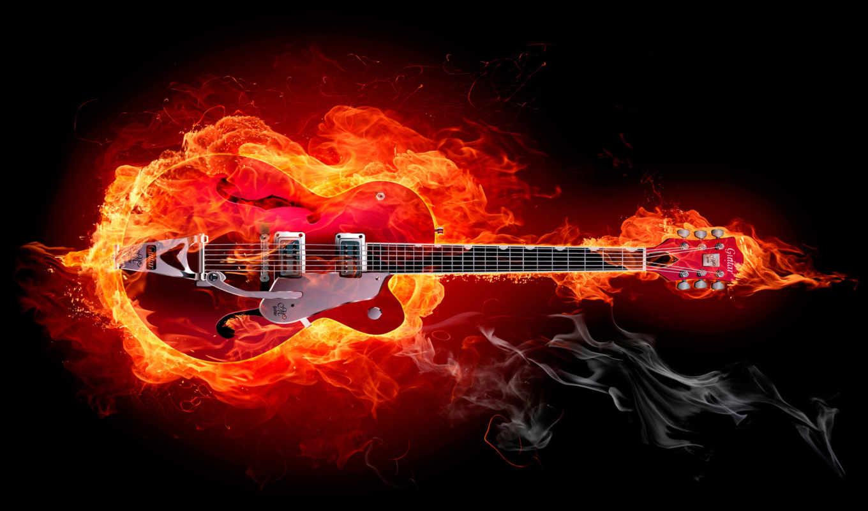 гитара, огне, электрогитара, огонь, абстракции,