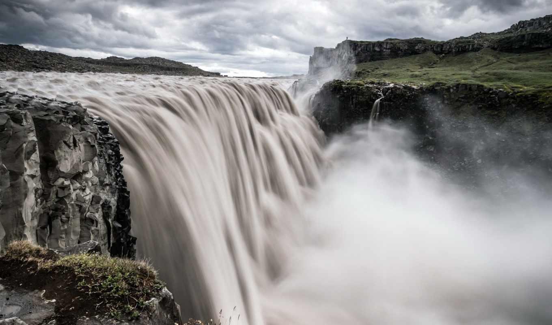 река, водопад, пейзаж, природа, картинка, тучи, поток, пасмурно,