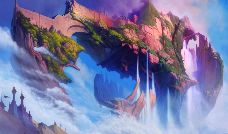 фэнтези, сайта, замок, эротические, может, водопады, скалы, широкоформатные,
