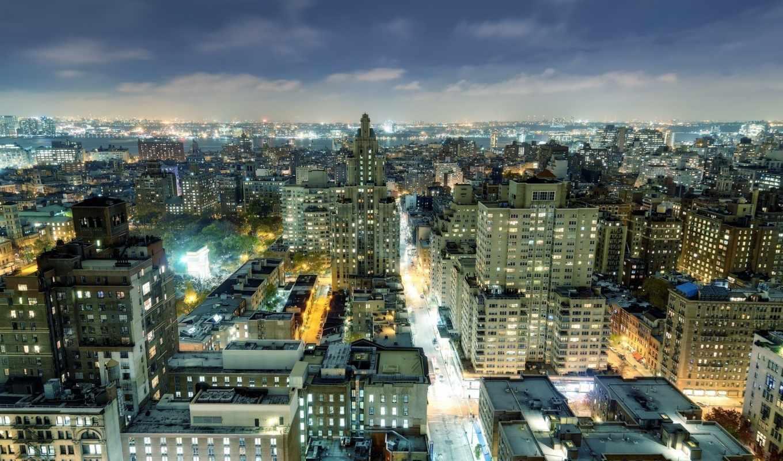 нью, park, new, york, square, washington, nyc, город, usa, огни,