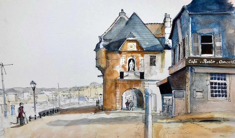 honfleur, sash, окно, франция, mac, parede, normandia, watercolor, pintura, normandy