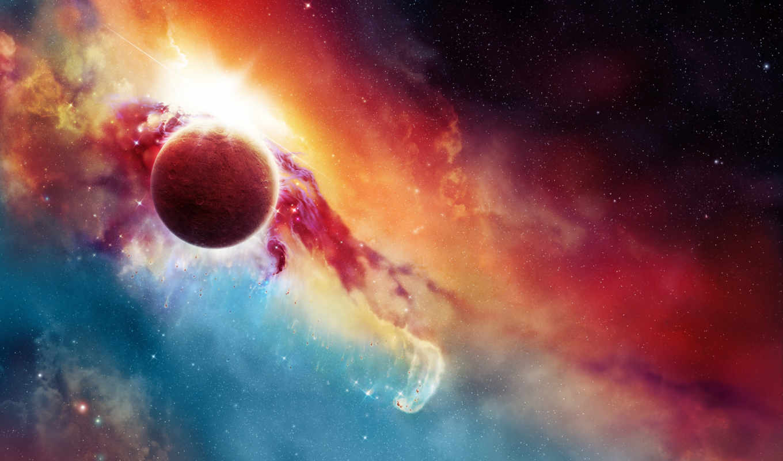 ,туманность, цвета, звезды, планета,