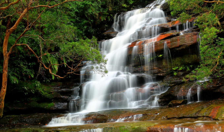 природа, водопад, река, лес, деревья, поток, скалы, водопады,