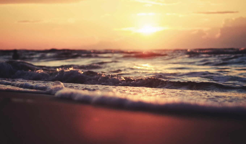 ,море, пляж, закат, волны, sun, боке,