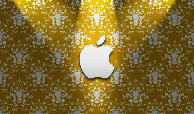 apple, узоры, золото, лого