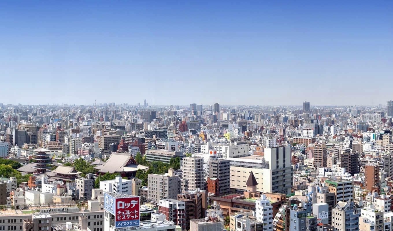tokyo, япония, панорама, здания,