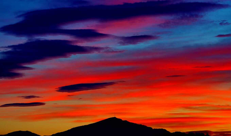 природа, закат, облако, landscape, небо