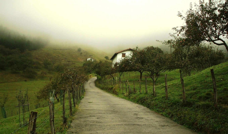 забор, дорога, дом, вечер, fog, houses,