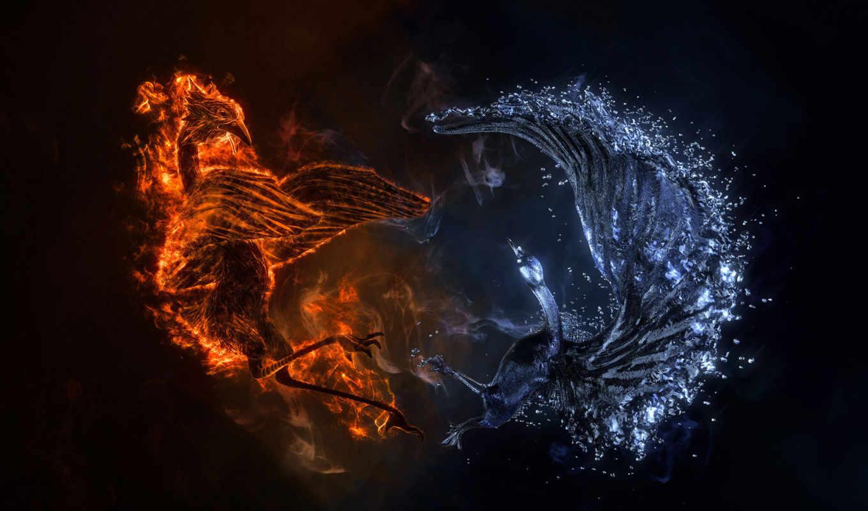 огонь, water, абстракция, широкоформатные,
