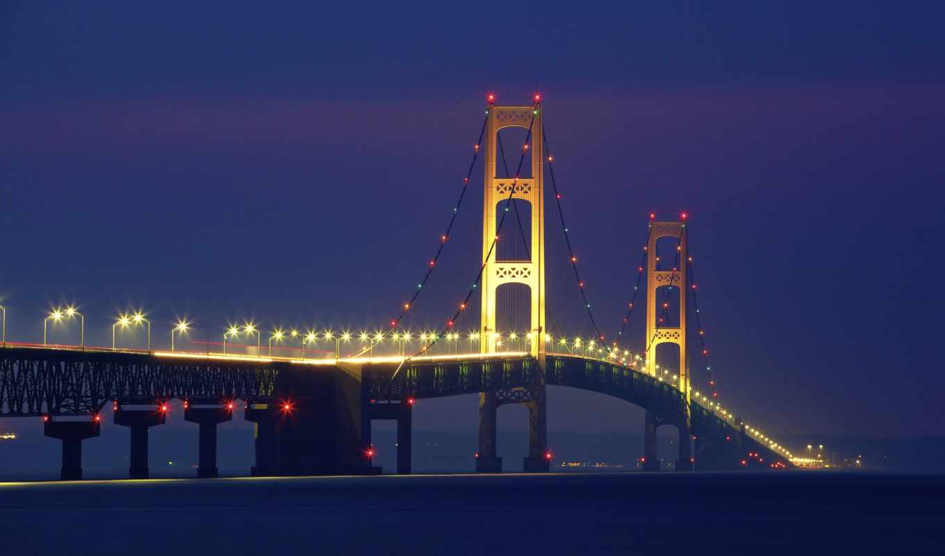 mackinac, мост, ночь, widescreen, wide, ratio,