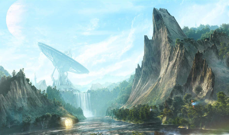 fantasy, скалы, рисунок, картинка, долина, тарелки, digital, art, desktopography, водопад,