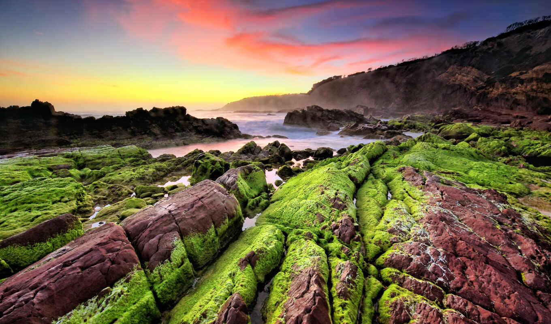 landscape, море, klippe, мох, зелёный, discover, copyright, blue, rock, побережье, камень