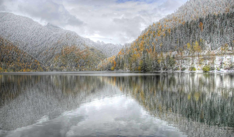 рица, абхазия, горы, зима, природа,