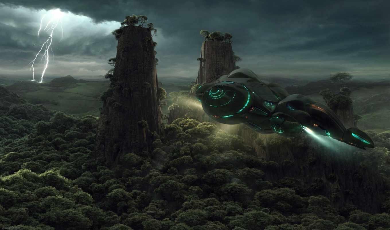 корабль, jieanu, dragos, молния, sci, fi, spaceship, forest, космический, деревья, wallpaper, abstract, транспорт, полет, звездолёт, арт,
