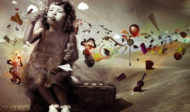 art, разное, free, web, design, picture, фотошоп, девочка, cola, необычные, пузыри, мыльные, мечты, imagination, сюрреализм, archann, нереальные, imaginação, детства,