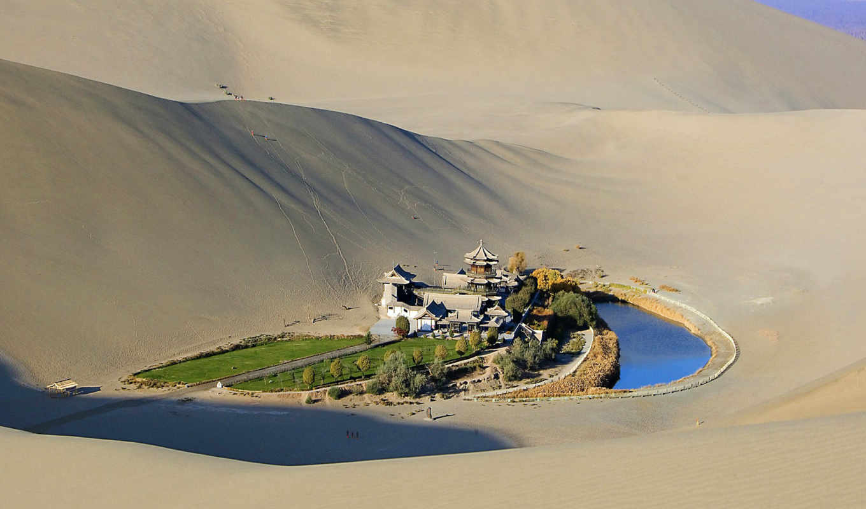 оазис, пустыне, гоби, ozero, полумесяц, от, пустыни, лежит, дуньхуан, города,