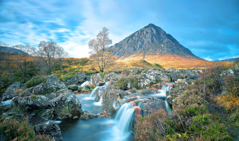 гора, природа, гленко, долина, шотландия, landscape, buachaille, небо, водопад,