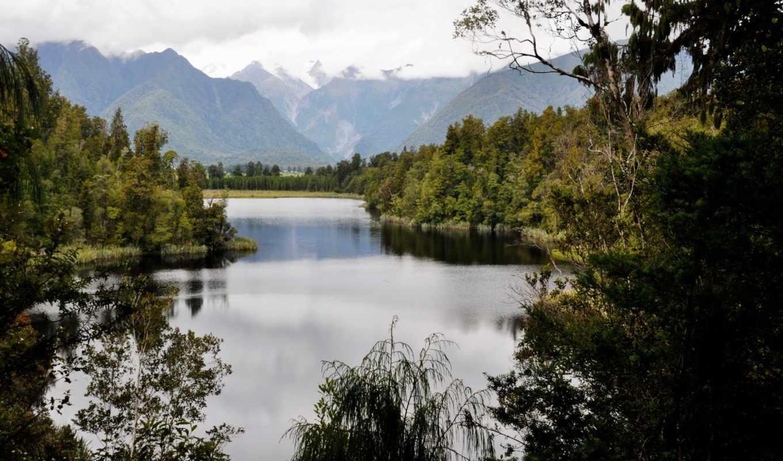 озеро, matheson, zealand, new, новая, изображение, природа, картинка,