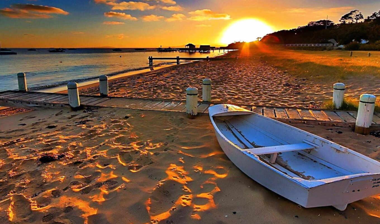 пляж, лодка, побережье, упадок