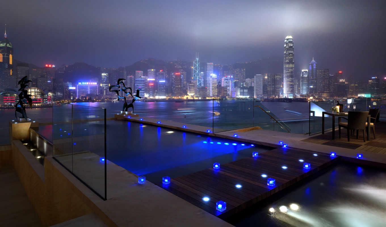 china, огни, kong, hong, свет, бассейн, реки, синий, окна, дома, города, ночь, дороги, wallpaper, небоскрёбы, city, naturales, paisajes,