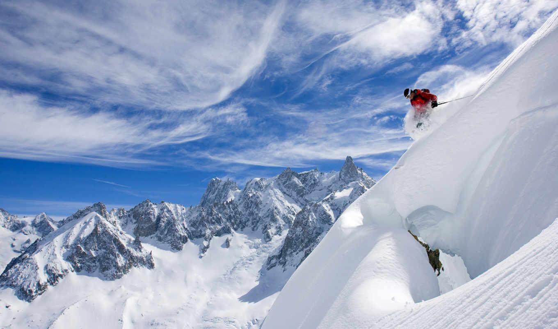 skiing, лыжи, снег, горы, france, облака, горные, лыжник,