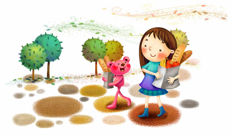 нарисованные, девочка, медвежонок, шопинг, ходьба, улыбка, покупки, деревья
