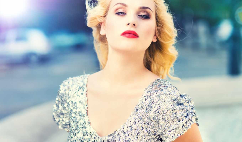 задумчивость, девушка, блондинка, город, макияж